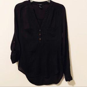 Dressy black blouse S adjustable sleeves